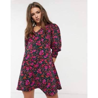 キューイーディーロンドン レディース ワンピース トップス QED London puff sleeve mini dress in floral print