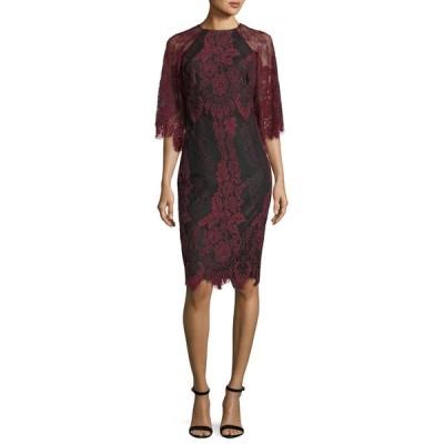 バッドグレイミッシカ レディース ワンピース トップス High-Neck Lace Flutter-Sleeve Sheath Dress