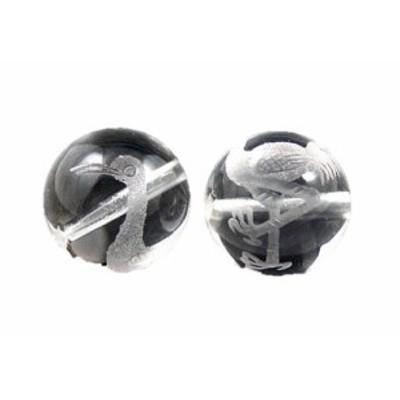 鶴(つる)水晶素彫り 12mm玉ビーズ【穴あり一粒売りビーズ】 天然石 パワーストーン