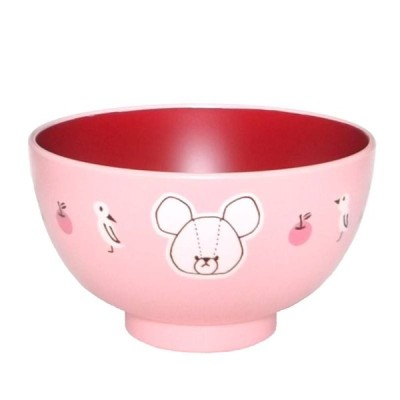 くまのがっこう (ピンク) 塗汁椀 M