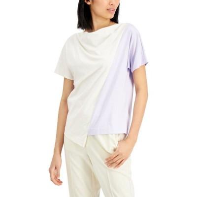 アルファニ Alfani レディース トップス Colorblocked Asymmetrical Top Lightest Lilac