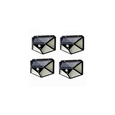 4個100 LEDソーラーパワーPIRモーションセンサーウォールライト屋外ガーデンランプ3モード