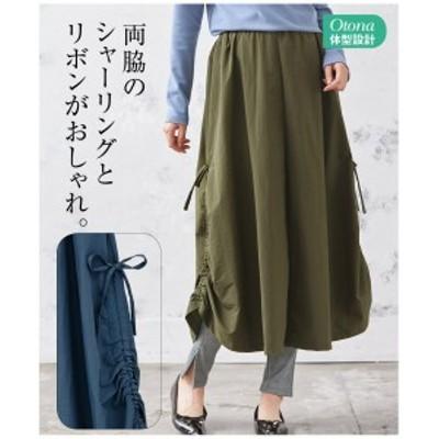 スカート ロング丈 マキシ丈 大きいサイズ レディース シャーリング デザイン  カーキ/スモーキーネイビー LC/LLC/3LC ニッセン