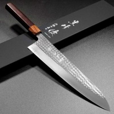 【閃光】越前打刃物 伝統工芸士 黒崎優 牛刀 270mm 粉末ステンレスハイス スーパーゴールド2 SG2 槌目 紫檀八角柄 包丁