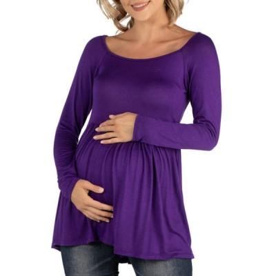 24セブンコンフォート レディース シャツ トップス Maternity Long Sleeve Square Neck Empire Waist Tunic Top