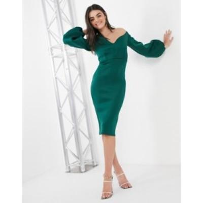 エイソス レディース ワンピース トップス ASOS DESIGN fallen shoulder midi dress with balloon sleeves in forest green Forest green