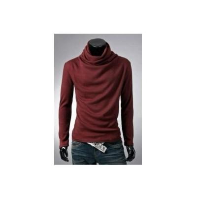 アフガン タートルネック 長袖 Tシャツ カジュアル メンズ シンプル ワインレッド XL