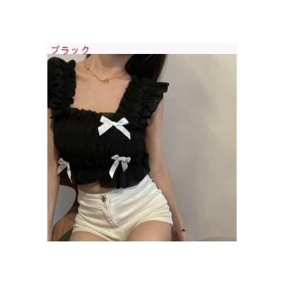 【送料無料】夏 韓国風 リボン 気質 シフォントップ 何でも似合う 折り畳む 着やせ ベスト 短いス | 364331_A62850-4670269