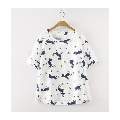 半袖Tシャツ/カットソーTシャツ二点送料無料ナチュラル/ゆったり森ガール風カジュアルトップス可愛い猫柄エレガント きれいめ総柄TシャツT-shirtティシャツ