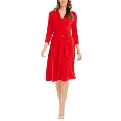 チャータークラブ ワンピース トップス レディース 3/4-Sleeve Midi Dress Ravishing Red