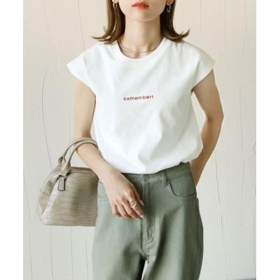 tシャツ Tシャツ フレンチスリーブ刺繍ロゴTシャツ
