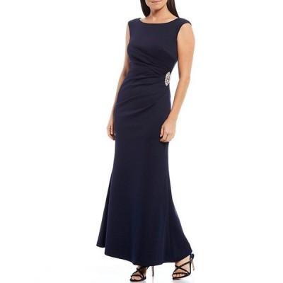ジェシカハワード レディース ワンピース トップス Petite Size Ruched Waist Scuba Gown