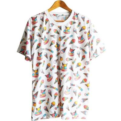 送料無料 Tシャツ メンズ レディース 総柄 ゆめかわいい アイスクリーム ジェラート シャーベット スウィーツ柄 男女兼用 ユニセックス 双子