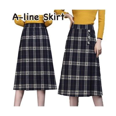 スカート ロング丈 Aラインスカート 台形スカート チェック 秋冬 かわいい きれいめ レディース ブラック