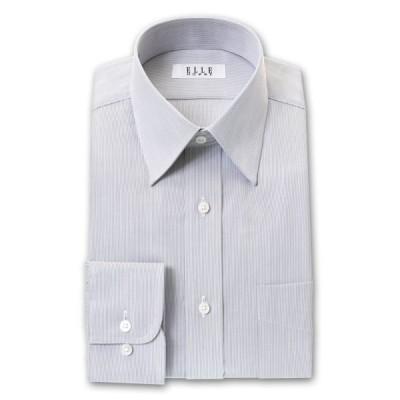 ELLE HOMME 長袖 ワイシャツ メンズ 形態安定 ゆったり グレーストライプ  レギュラーカラー 綿:50% ポリエステル:50% 灰色