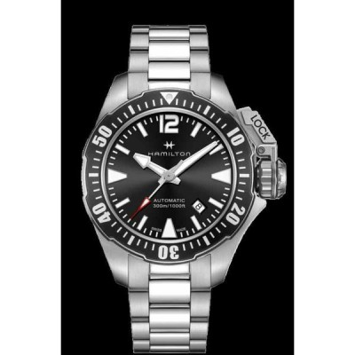 ハミルトン 腕時計 Hamilton Khaki Navy Frogman Auto Stainless Steel Black Dial Men Watch H77605135