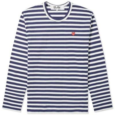 コム デ ギャルソン Comme des Garcons Play メンズ 長袖Tシャツ トップス Little Red Heart Long Sleeve Stripe Tee Navy