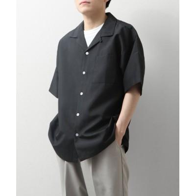 【ZIP FIVE】 ポリトロ半端袖オープンカラーシャツ メンズ ブラック L ZIP FIVE