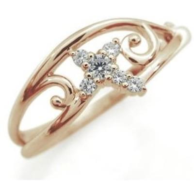 クロス リング ダイヤモンド 唐草 K18 指輪