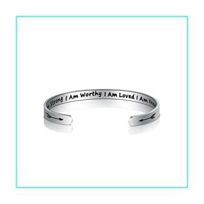 【新品】Inspirational Bracelet Cuff Bangle Motivational Friend Encouragement Jewelry Gift for Women (?I Am Strong I Am Worthy I Am Loved I Am Eno