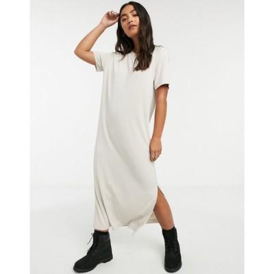 モンキ Monki レディース ワンピース Tシャツワンピース ミドル丈 ワンピース・ドレス Isabella midi t-shirt dress in beige ベージュ
