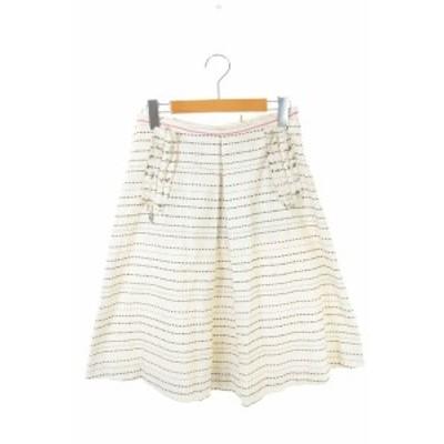 【中古】マルニ MARNI ボーダー刺繍スカート 膝丈 フレア  40 アイボリー /HH ■OS レディース
