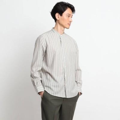タケオ キクチ TAKEO KIKUCHI ストライプバンドカラーシャツ (グレー)