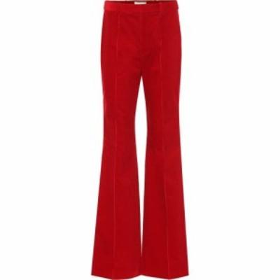イヴ サンローラン Saint Laurent レディース ボトムス・パンツ high-rise corduroy flared pants Red
