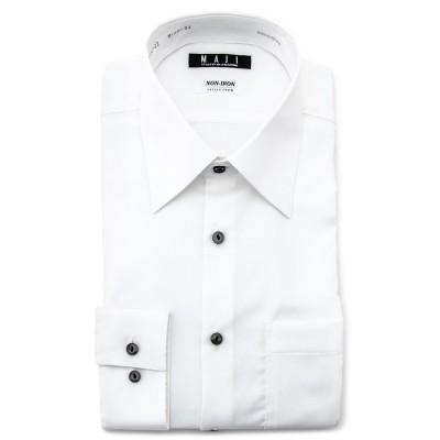 ノンアイロンコットン ストレッチ  白 レギュラーカラーシャツ 無地 スリム MAJI