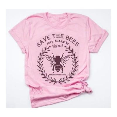 レディース 衣類 トップス Plus Size Bee Print Women Casual Short Sleeved T-shirt Tシャツ