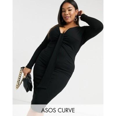 エイソス ドレス 大きいサイズ レディース ASOS DESIGN Curve going out long sleeve deep plunge tie detail midi dress in black エイソス ASOS ブラック 黒