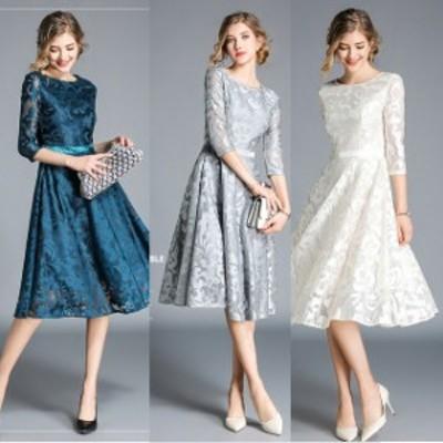 結婚式 ドレス パーティードレス お呼ばれ ワンピース 二次会 ドレス フォーマル 長袖 レース 大きいサイズ