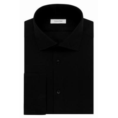 Calvin Klein カルバンクライン ファッション ドレス Calvin Klein NEW Solid Black Mens Size 15 Steel Slim Fit Dress Shirt
