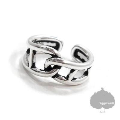 2チェーン リンク リング 指輪 フリーサイズ シルバー925 11号 男女兼用 シンプル