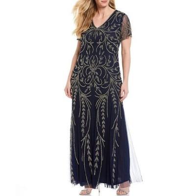 ピサッロナイツ レディース ワンピース トップス Plus Size Beaded V-Neck Short Sleeve Gown Navy/Gold