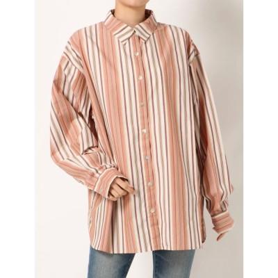 Ungrid マルチストライプビッグシャツ(レッド)