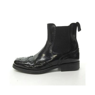 【中古】ボエモス BOEMOS サイドゴアブーツ カントリーブーツ 革靴 シューズ ウィングチップ メダリオン イタリア製 ブラック 黒 37 約24cm 0115