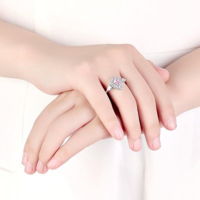 [ピンク,8]ラグジュアリーダイヤモンドウェディングリングエレガントな水滴ジルコンストーンシルバー婚約指輪女性のための