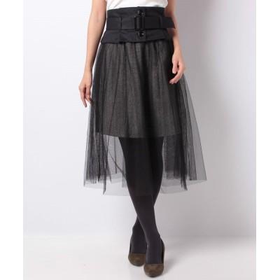 【セシルマクビー】 コルセットベルト付きレイヤードスカート レディース ブラック M CECIL McBEE