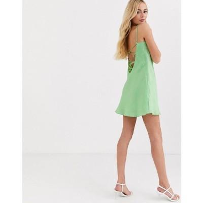 ファインダーズ キーパーズ Finders Keepers レディース ワンピース スリップドレス ミニ丈 Yasime mini satin slip dress in lime green ライムグリーン