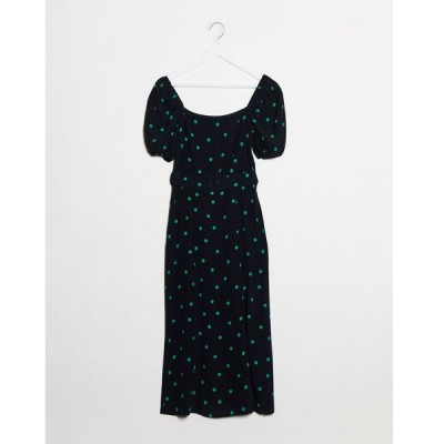 ニュールック ミディドレス レディース New Look square neck belted midi dress in polka dot エイソス ASOS ブラック 黒