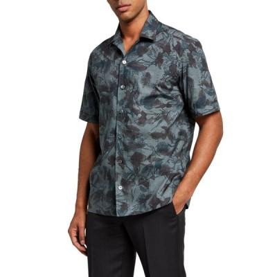 エルメネジルド・ゼニア メンズ シャツ トップス Men's Floral Cuban-Collar Trim-Fit Sport Shirt