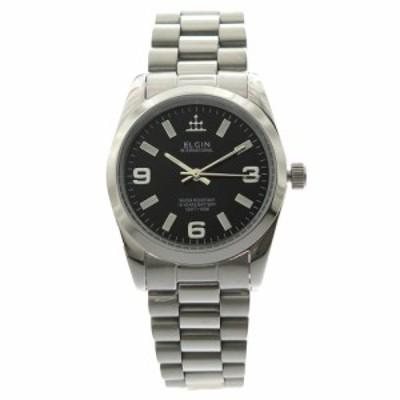 エルジン メンズ 腕時計/ELGIN 腕時計 ブラック シルバー 送料無料/込 クリスマスプレゼント