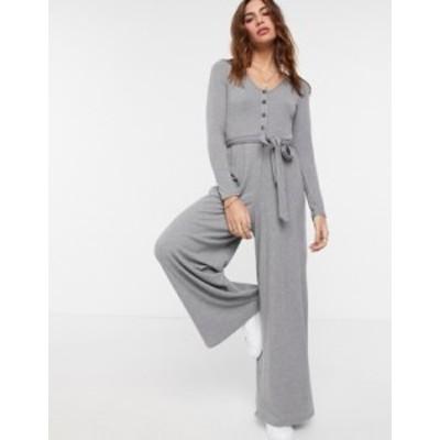 エイソス レディース ワンピース トップス ASOS DESIGN lounge rib long sleeve belted jumpsuit in gray Grey