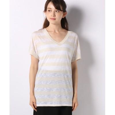 (SISLEY/シスレー レディス)メランジボーダーVネック半袖Tシャツ・カットソー/レディース オフホワイト