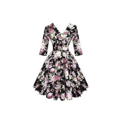 ヘルバニー ドレス ワンピース Hell Bunny ブラック Dahlia Kitsch ビンテージ 50s フローラル Flaレッド Tea パーティ ドレス UK