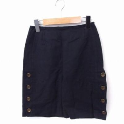 【中古】ノーブル NOBLE スカート 台形 サイドボタン ミニ 無地 綿 麻 リネン 34 ネイビー 紺 /FT22 レディース