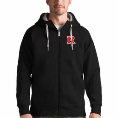 Antigua アンティグア スポーツ用品  Antigua Rutgers Scarlet Knights Black Victory Full-Zip Hoodie
