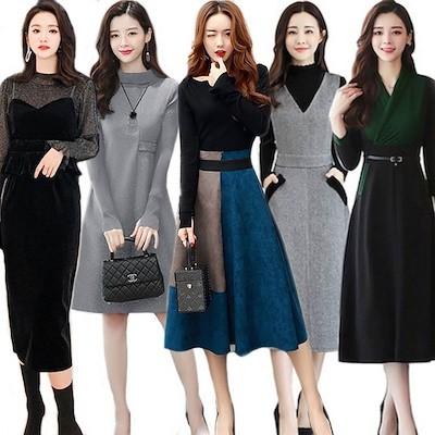正規品 韓国ファッションワンピース メリヤスワンピース ストライプのワンピース 長袖ワンピース 二点セットスカートニットワンピース