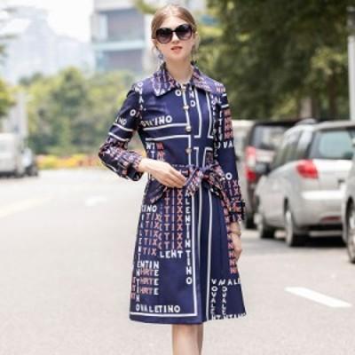 襟付き 英字ロゴ ウエストリボン フロントボタン エレガント 膝丈 ドレス